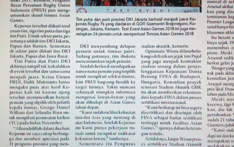 [News Coverage] Republika 28 Oct 2017: DKI Dominasi Timnas Rugby
